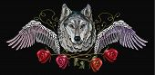 Embroidery Wolf, Wings And Roses. Embroidery Wolf. Fashion Modern Embroidery Wolf  Head Red Roses An poster