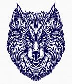 Wolf Tattoo. Native American Style T-shirt Design. Wolf Head Tribal Tattoo poster