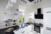 Interior Of Modern Kitchen With Light Oak Facade poster