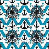 Male Nautical Texture Decor. Marine Design Background. Anchor And Wheel Vector Seamless Pattern Isol poster