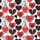 Lower Lingerie And The Eiffel Tower. Hand Drawing Love In Paris. Seamless Pattern Red Isolated On Wh poster