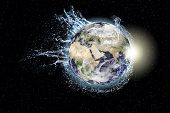 Earth splashes water around itself, collage. Elements of this image furnished by nasa poster