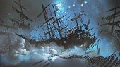Wrecked Ships With Pirate Skull Flag Filled With Particles And Dust Floating In The Night Sky, Digit poster