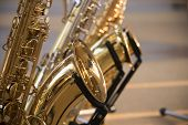 Saxophone Detail.jazz Festival Group Of Saxophone Music Instrument For Musician poster