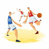Basketball Players In Abstract Flat Style. Men Playing With A Basketball Ball. Vector Illustration,  poster