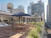 3d Rendering. Penthouse Terrace In A Big City. poster