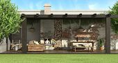 Rustic Pergola In A Garden With Dining Table,barbecue And Sofa - 3d Rendering poster
