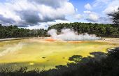 Geothermal Activity At The Wai-o-tapu Thermal Wonderland In New Zealand. poster