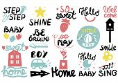 15 Children S Logo With Handwriting Little, Hi, Step By, Smile, Hello Baby, Sing, Shine, Welcome, Sw poster