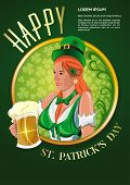 Poster For St. Patricks Day. Cute Irish Girl With A Beer Glass In Hand. Pretty Irish Woman. Hibernia poster