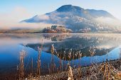 Peaceful Morning At Lake Schliersee, Reflecting Mountain And Fog. Bavarian Landscape poster