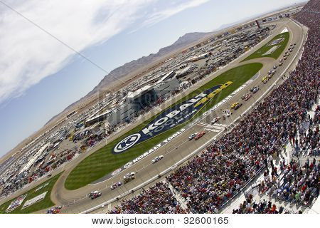 LAS VEGAS, NV - MARCH 11:  The NASCAR Sprint Cup teams take to the track for the running of the Kobalt Tools 400 race at the Las Vegas Motor Speedway in Las Vegas, NV on March 11, 2012.