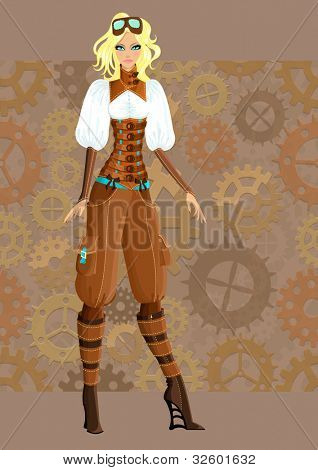 Beautiful steampunk girl. Vector illustration