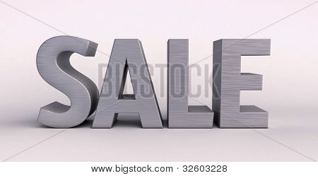 Sale, the steel material, 3D rendering, a light background with shadow