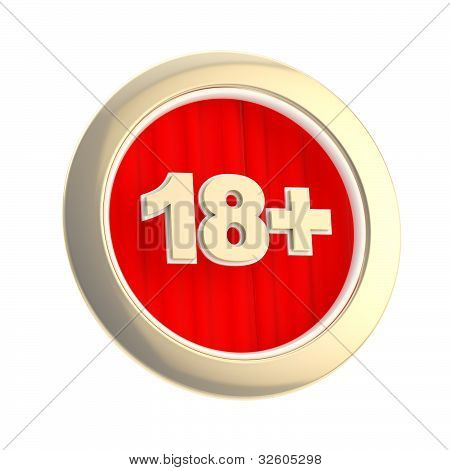 Age limit (18 ) round symbol isolated