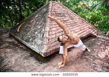 Yoga Horizon Pose On The Roof