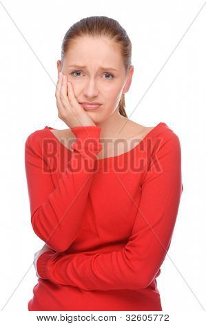 Full isolated studio picture from a young woman with toothache