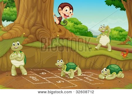 Turtles playing hopscotch on white