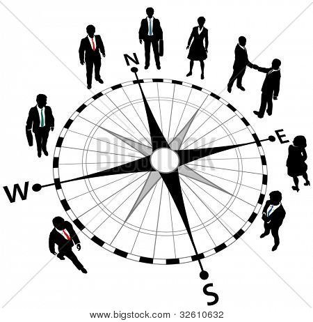 Business people standing on compass pointing in directions of strategy