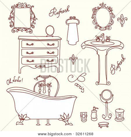 Luxurious Bathroom. Bathroom doodles in vintage, boudoir style