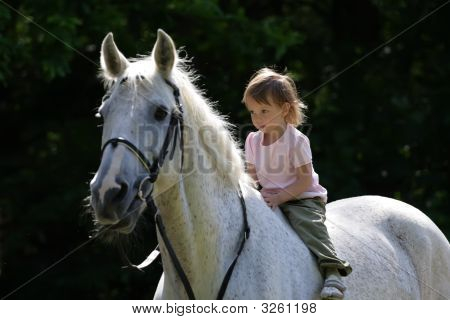 Beauty Intent Girl Rideing Bareback By Gray Horse