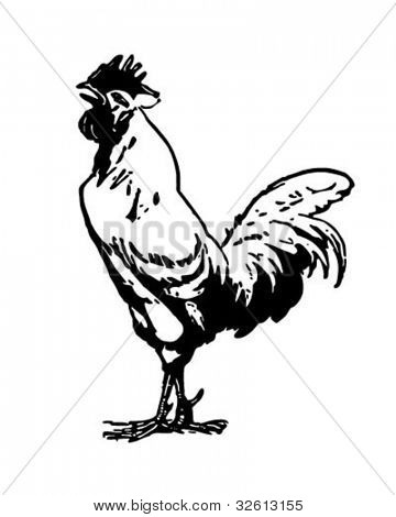 Crowing Rooster - Retro Clipart Illustration