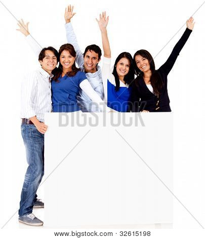 Group of people with a banner - isolated over a white background