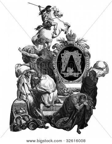 "Luxurious Victorian initials letter A, after an engraving by Gustav Dore, ""Jesus, banishing merchants from the temple"", edition of the ""Holy Bible"",Russian Empire, circa 1866."