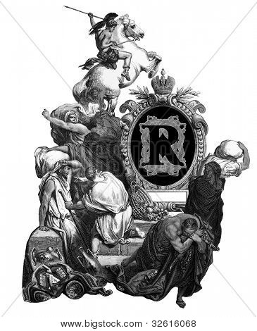 Luxurious Victorian initials letter R, after an engraving by Gustav Dore,