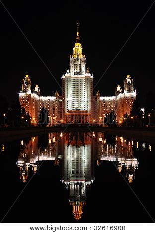 Lomonosov Moscow State University At Evening