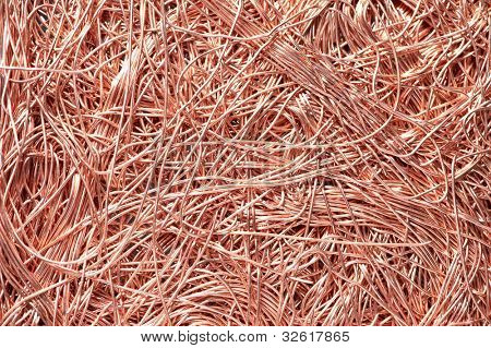 Red metal copper wire scrap materials recycling backround of punching waste