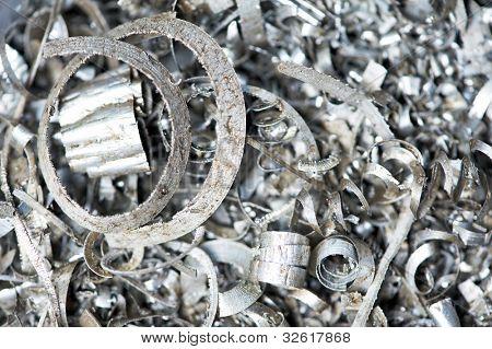 steel scrap materials recycling backround of metal shavings