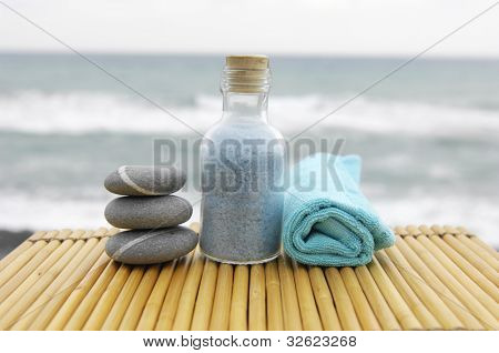 Zen concept �stacked Stones and salt in a glass