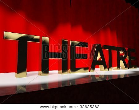 Theatre Word On Stage Represents Broadway The West End Or Acting