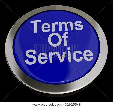 Terms Of Service Computer Button In Blue Showing Website Agreement And Conditions