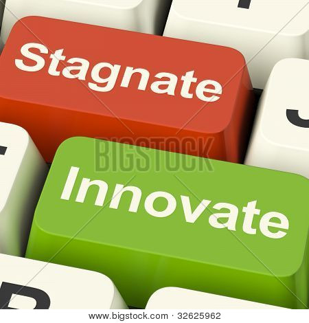 Stagnate Innovate Computer Keys Showing Choice Of Growth And Advancement Or Stagnation