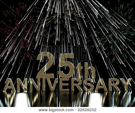 Gold 25th Anniversary With Fireworks For Twenty Fifth Celebrations
