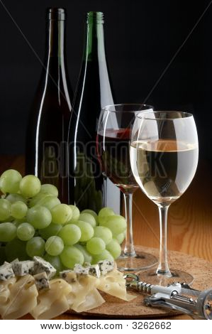 Still Life With Grape, Cheese, Red And White Wines