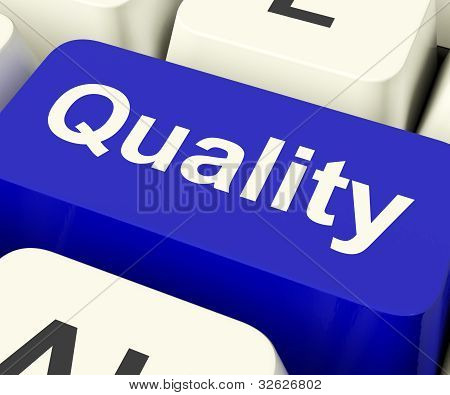 Quality Key Representing Excellent Service Or Products