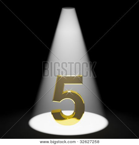 Gold 5th 3d Number Representing Anniversary Or Birthday