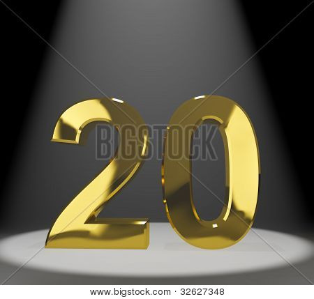 Gold 20th Or Twenty 3d Number Representing Anniversary Or Birthdays