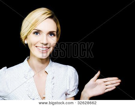 Woman Extending Her Hand In Endorsement