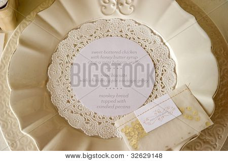 Wedding Dinner Menu Place Setting