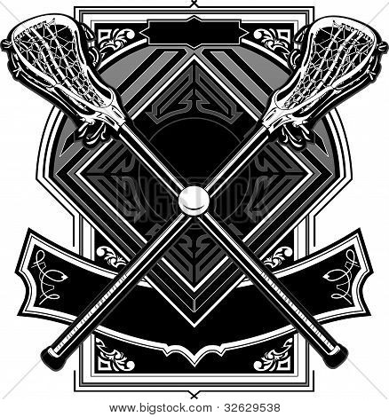 Lacrosse Ball And Sticks Ornate Graphic Vector Template