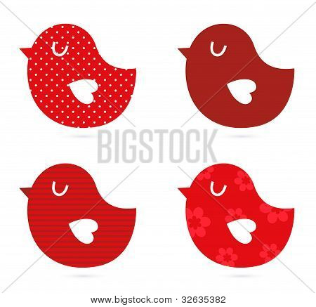 Vögel vector Set isolated on White (rot)