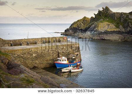 Polperro Harbour Cornwall Uk
