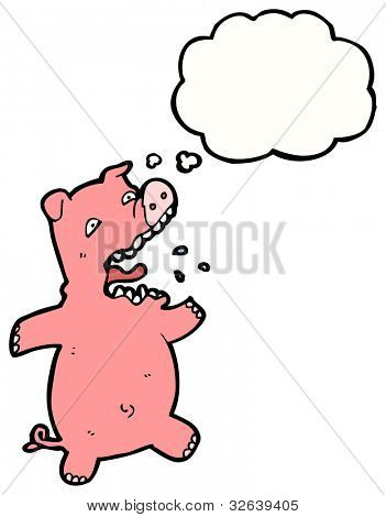 cartoon terrified pig