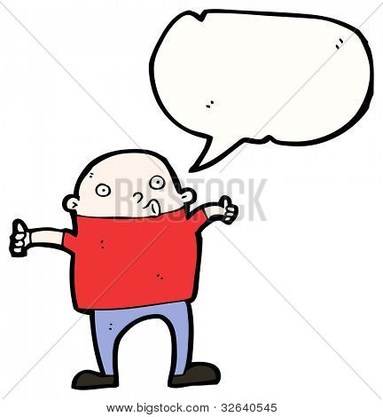 cartoon bald man giving thumbs up sign