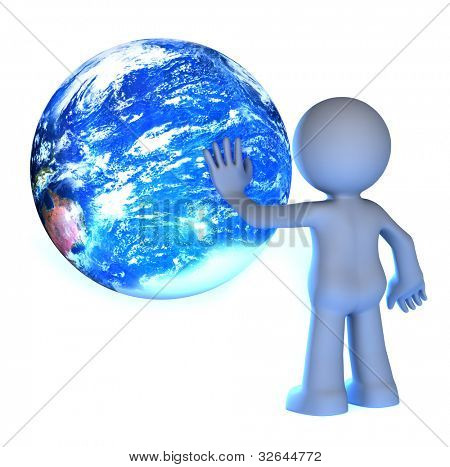 3D human character touching planet earth isolated on white. Elements of this image furnished by NASA.