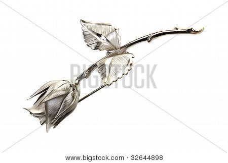Silver Rose Pin